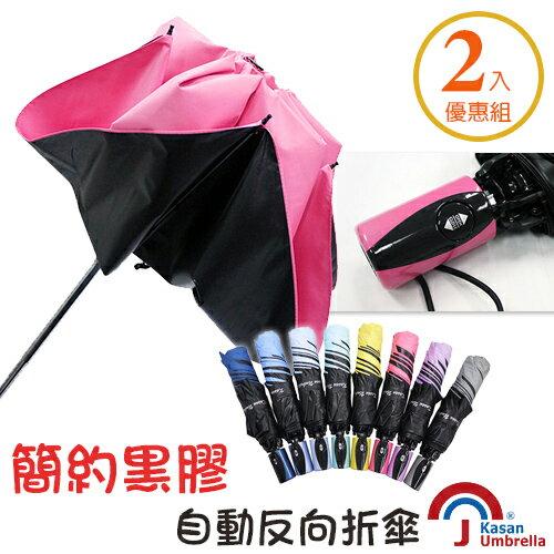 【Kasan】抗風防晒黑膠自動雨傘-超值2入組