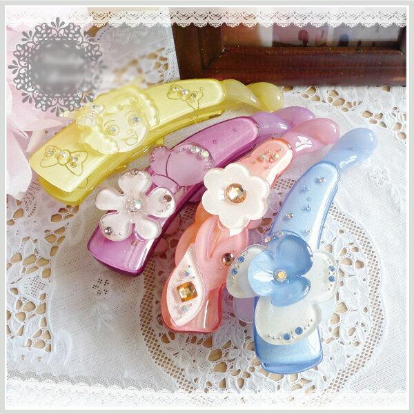 【aife life】A0295日系超亮麗時尚香蕉夾/髮夾日雜誌狂推可愛浪漫水鑽相交夾髮夾髮飾