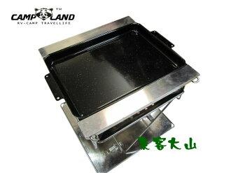【露營趣】中和 CAMPLAND RV-ST368A 焚火台 雙口爐 瓦斯爐 RV-ST360 L Snow Peak專用 大煎盤 燒烤盤