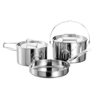 【露營趣】中和 日本製 Captain Stag 鹿牌 燕三條 不鏽鋼鍋具三件組 M 湯鍋 平底鍋 煎鍋 M-5530