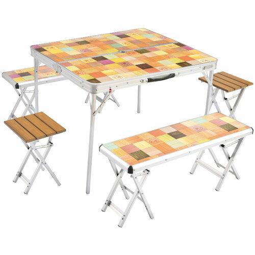 【露營趣】中和 附手電筒 Coleman CM-3128 自然風桌椅組 一桌四椅 摺疊桌 休閒桌 露營餐桌