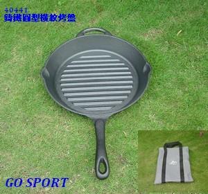【露營趣】中和 GO SPORT 鑄鐵圓形橫紋烤盤 平底鍋 煎鍋 烤盤 鑄鐵鍋 40441