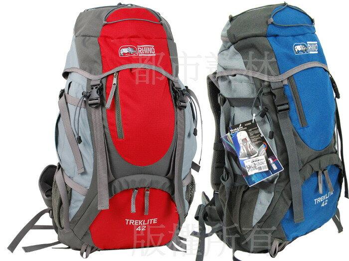 【露營趣】中和 送手電筒 犀牛 RHINO G142 42公升 超輕透氣網架背包 登山背包 旅行背包 登山包