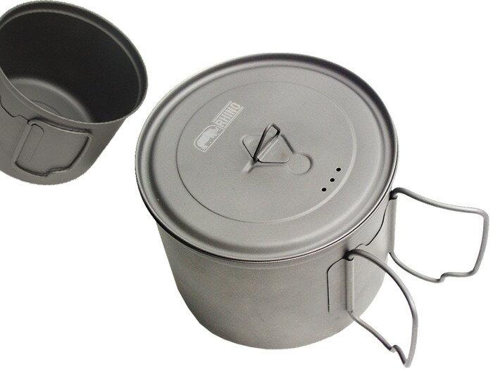 【露營趣】中和 附D型扣 犀牛 RHINO KT-11 500cc 0.55L 超輕鈦合金湯壼 鈦碗 鈦杯 鈦鍋