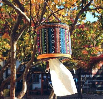 【露營趣】中和 民族風 吊掛式面紙盒 面紙套 滾筒面紙 抽取式衛生紙 輕巧包衛生紙 tnr-026