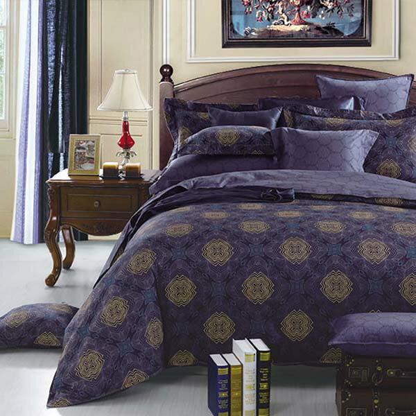 伊芙琳藍活性純棉兩用被床包四件組