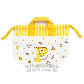 〔小禮堂〕布丁狗 日製便當型束口提袋《黃白.點點.朋友.P.麵包》