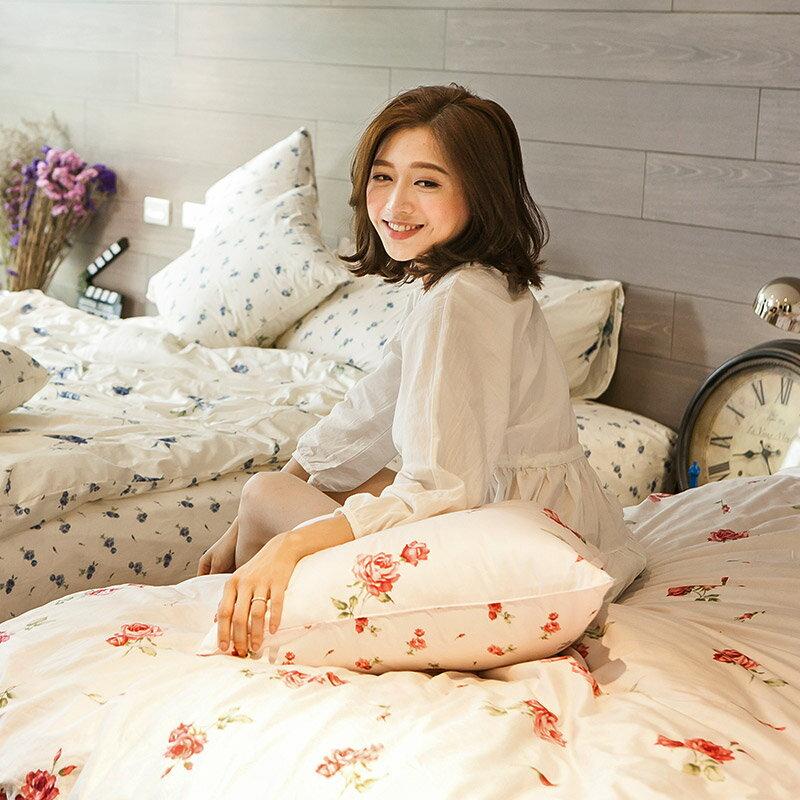 熱賣!床包  /  雙人-100%精梳棉【玫果雪酪-粉】含兩件枕套,在巴黎遇見系列,浪漫碎花,戀家小舖台灣製 4
