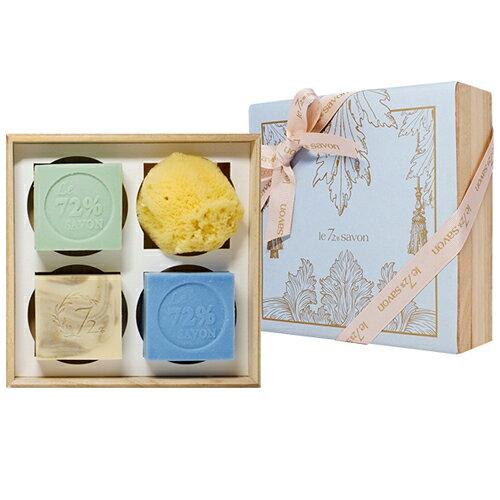 《雪文洋行》禮物系列~湖畔的日光禮盒組-72%馬賽皂110gx2+專用皂110gx1+希臘天然海綿x1-贈精緻紙禮盒包裝與提袋 0