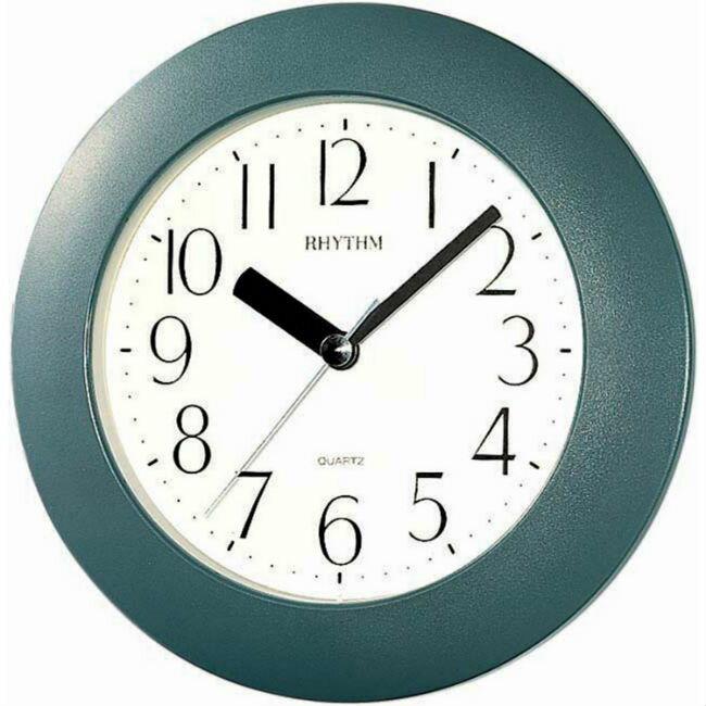 大高雄鐘錶城 RHYTHM 麗聲鐘(4KG652) 暗綠圓形時尚掛鐘/ 17.8cm