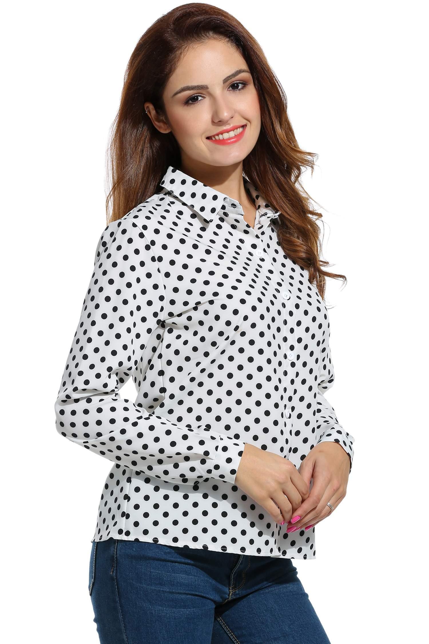 Women Long Sleeve Polka Dot Casual Loose Button Down Shirt 2