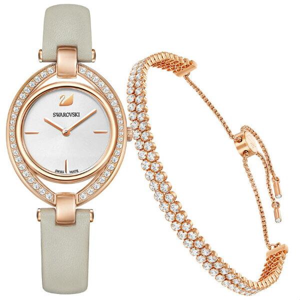 Swarovski施華洛世奇5414703Stella嫵媚流線時尚腕錶套裝玫瑰金29mmx35mm