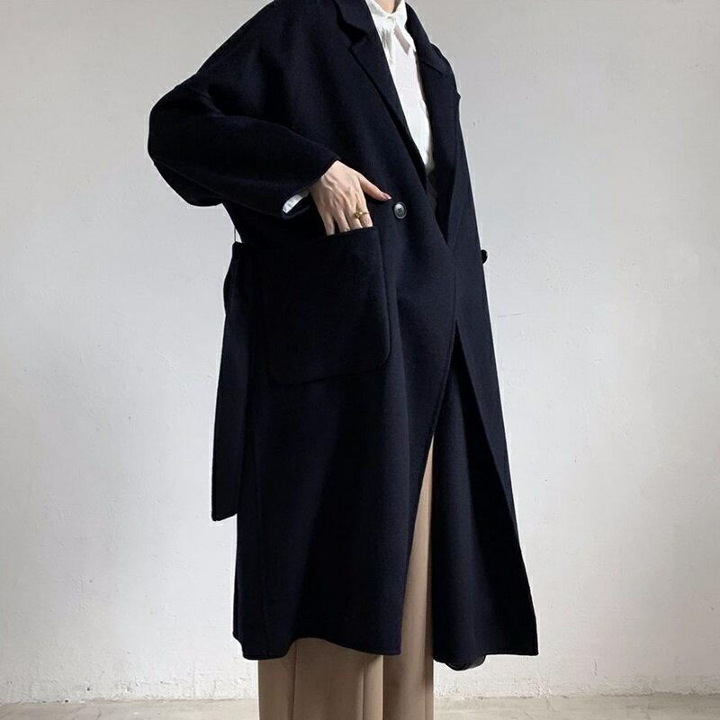 毛呢大衣羊毛外套-藍色綁帶寬鬆長版女外套73wb37【獨家進口】【米蘭精品】 2