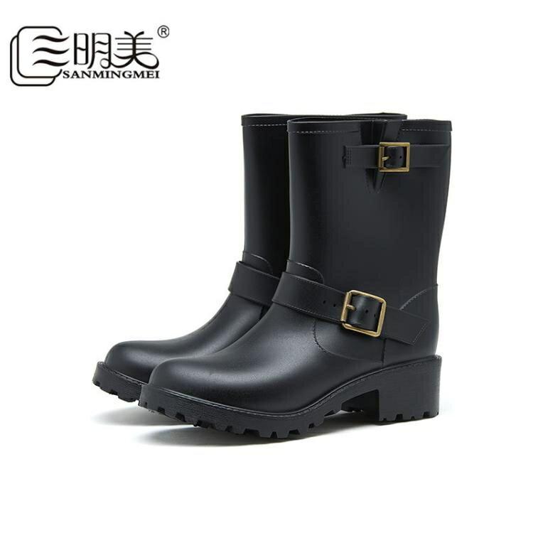 雨鞋 三明美時尚經典雨靴女中筒機車靴防滑套鞋搭扣成人女雨鞋2013