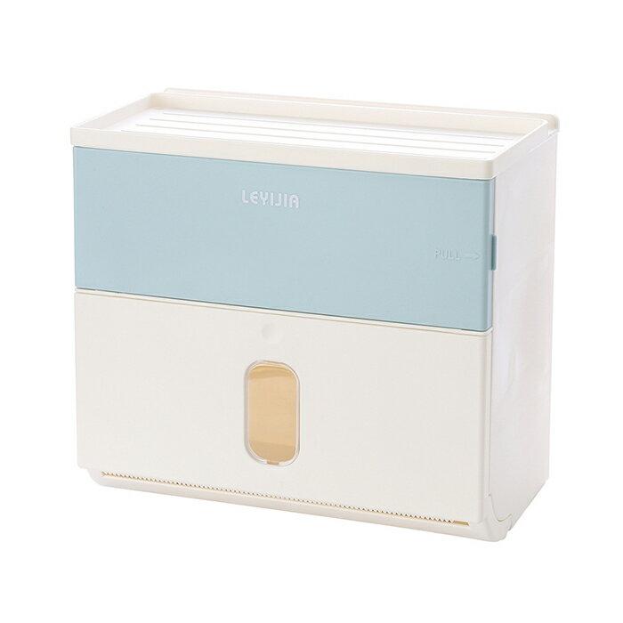 面紙盒 衛生紙大容量雙層 收納 無痕壁掛 免打孔 廁所 浴室 防水面紙盒 浴室 手機架 紙巾盒 牆面無痕貼 1