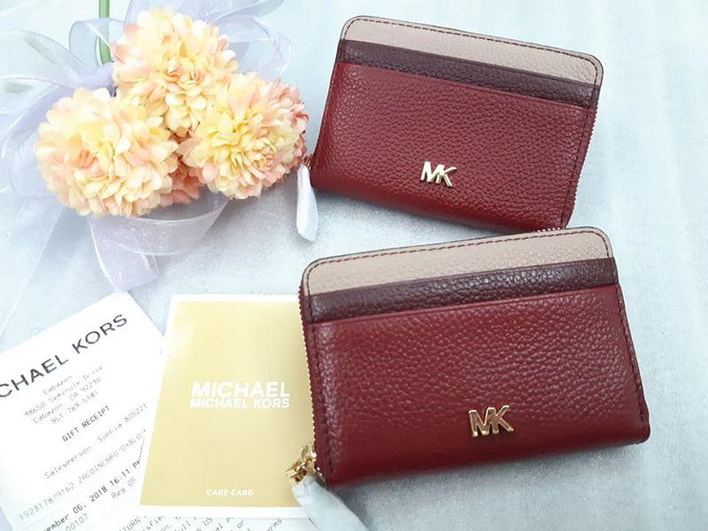MK 拼色雙層拉鍊-卡片零錢包
