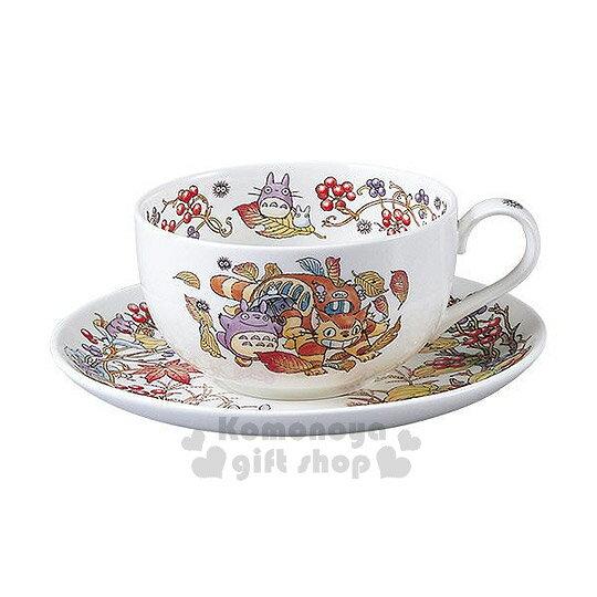 〔小禮堂〕宮崎駿 Totoro龍貓 骨瓷咖啡杯盤組《白底.枯葉.龍貓公車》Noritake精緻骨瓷