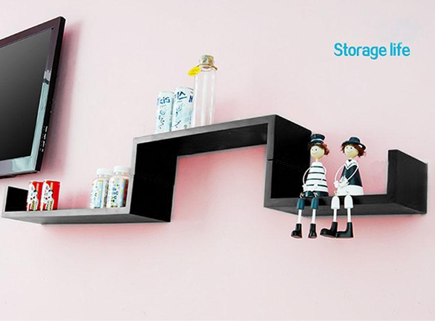 Set of 3 U Shape Floating Wall Shelves Storage Display Shelf Black/White/Red 5