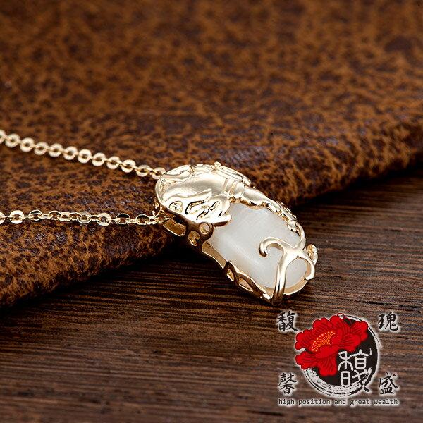 貔貅【香檳金貓眼石貔貅項鍊】錢鍍銀水晶情侶招財開運含開光馥瑰馨盛NS0251