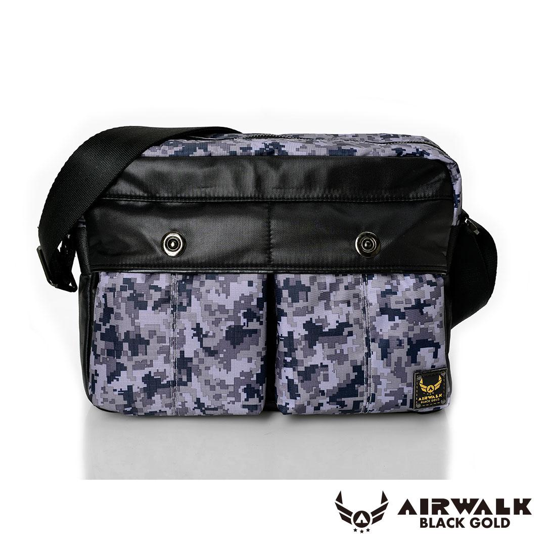 AIRWALK - 黑金系列 【禾雅】輕裝騎兵 - 經典雙前袋側肩包 - 大 - 迷彩灰