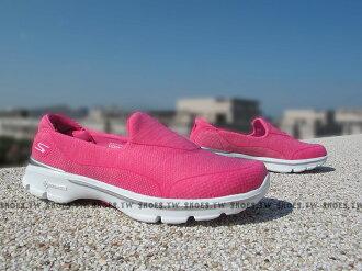Shoestw【14046HPK】SKECHERS 健走鞋 輕便鞋 GO WALK3 桃紅 雪花 編織 女款 瑜珈鞋墊