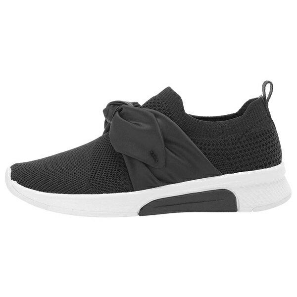 Shoestw【89800LBLK】SKECHERS AIR-COOLED 童鞋 中童鞋 健走鞋 記憶鞋墊 襪套 免綁帶 蝴蝶結 黑色