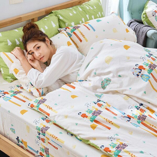 戀家小舖:床包被套組雙人特大-100%精梳棉【純真天賦-綠】點點善獨家聯名,含兩件枕套,戀家小舖,台灣製