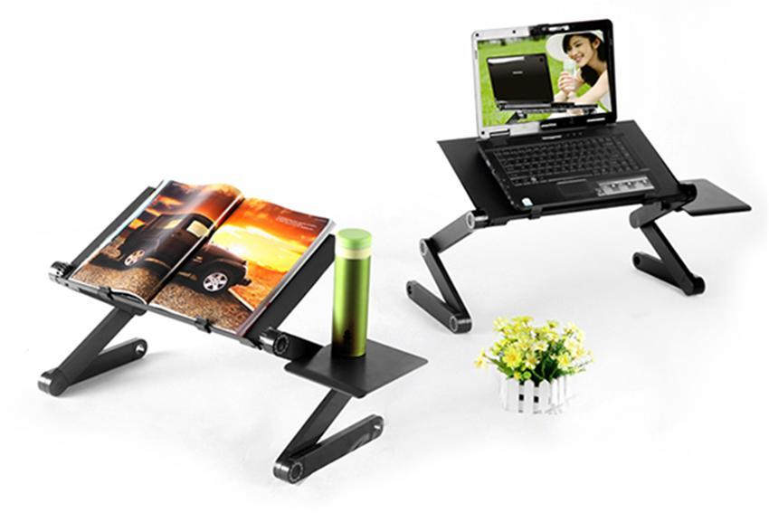 360 Degree Adjustable Foldable Laptop Notebook Desk Table Stand Tray With Fan 2