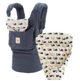 【淘氣寶寶】【總代理公司貨】美國ErgoBabyergobabyCarrier爾哥寶寶揹帶揹巾背巾(原創款+心型保護墊*深海鯨魚組)