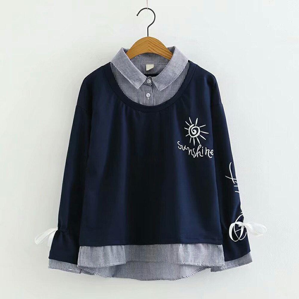翻領太陽花刺繡寬鬆假兩件長袖衛衣(2色M~L)【OREAD】 0