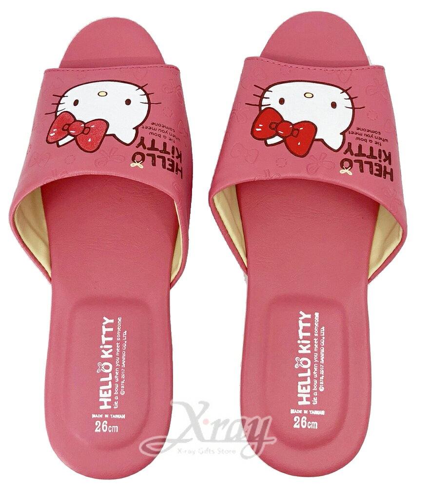 X射線~C234341~KITTY室內拖鞋 皮~粉色 ,兒童拖鞋  室內拖鞋  舒適拖鞋