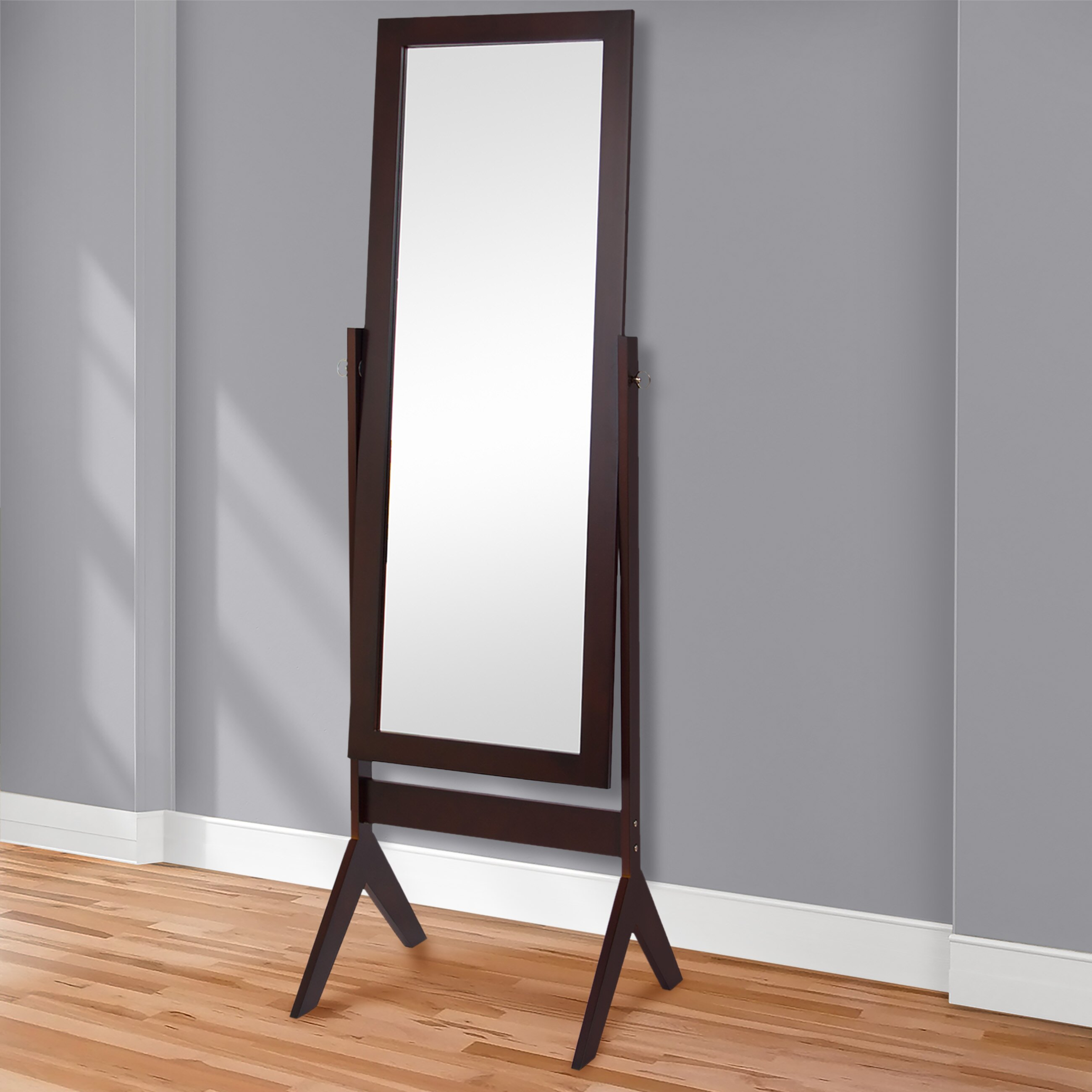Best Choice Products Cheval Floor Mirror Bedroom Home Furniture- Espresso Brown 1