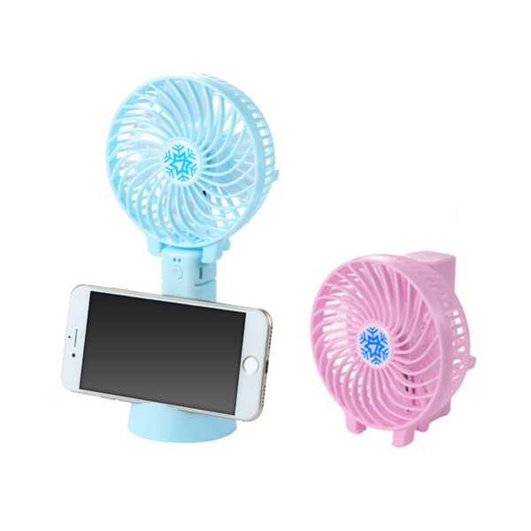 手持風扇 USB充電風扇【可折疊 當手機架】摺疊風扇 手機架 手機座 立扇桌扇 多功能 三段風力 迷你可拆卸 粉 / 藍 1