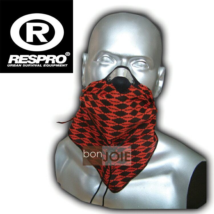 ::bonJOIE:: 英國進口 Respro Bandit Anti Pollution Scarf 領巾式口罩 (格菱紅)(全新盒裝) 防污染面巾 自行車 腳踏車 單車 摩托車 運動
