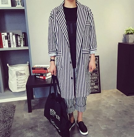 正韓 韓國 似ZNIF 高品質 長版 條紋 西裝 外套 非ZARA UNIQUL FHM CUXI 整套 西裝