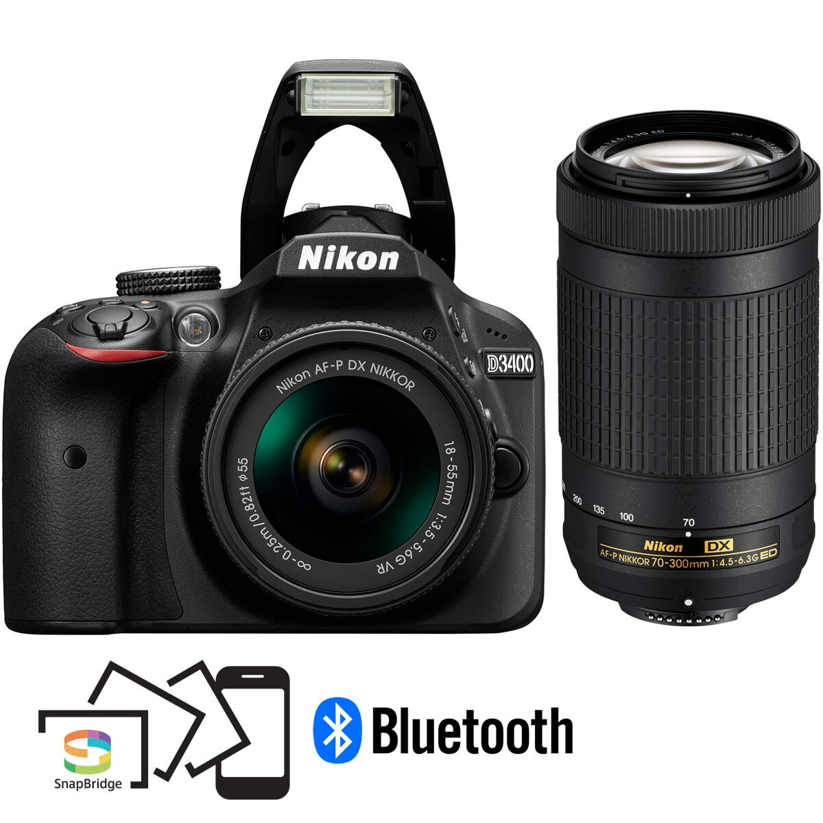 Nikon D3400 24.2MP Digital SLR Camera w/ AF-P 18-55mm VR & 70-300mm Dual Zoom Lens Kit 0