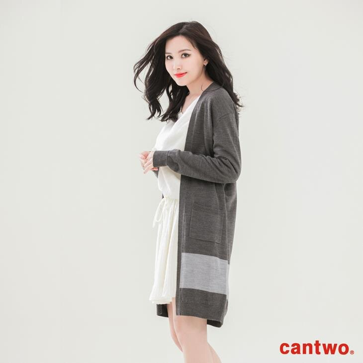 cantwo素色長版針織罩衫(共三色) 1