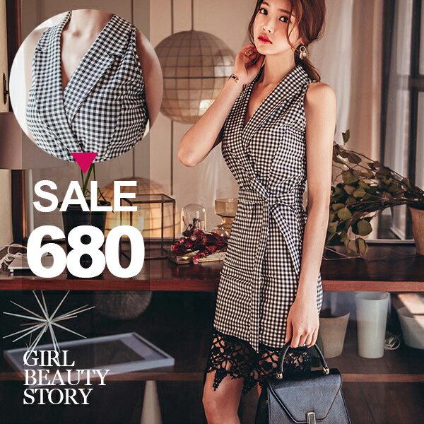 SISI~D7122~西裝翻領縮腰修身綁帶拼接蕾絲格紋連身裙洋裝