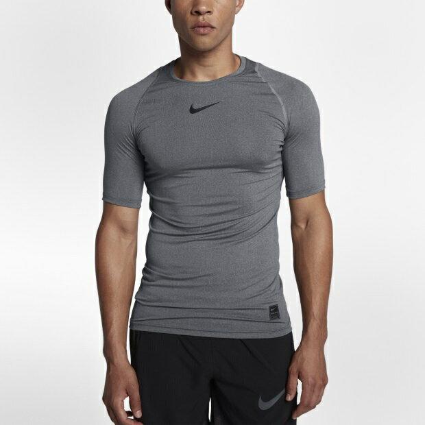 NIKE PRO 男裝 短袖 緊身 慢跑 訓練 排汗 透氣 灰 【運動世界】 838092-091