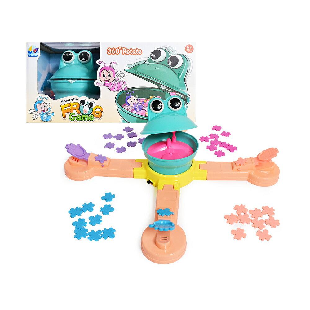 彈跳旋轉青蛙桌遊(餵食遊戲 派對聚會 多人互動 大冒險 音樂玩具)