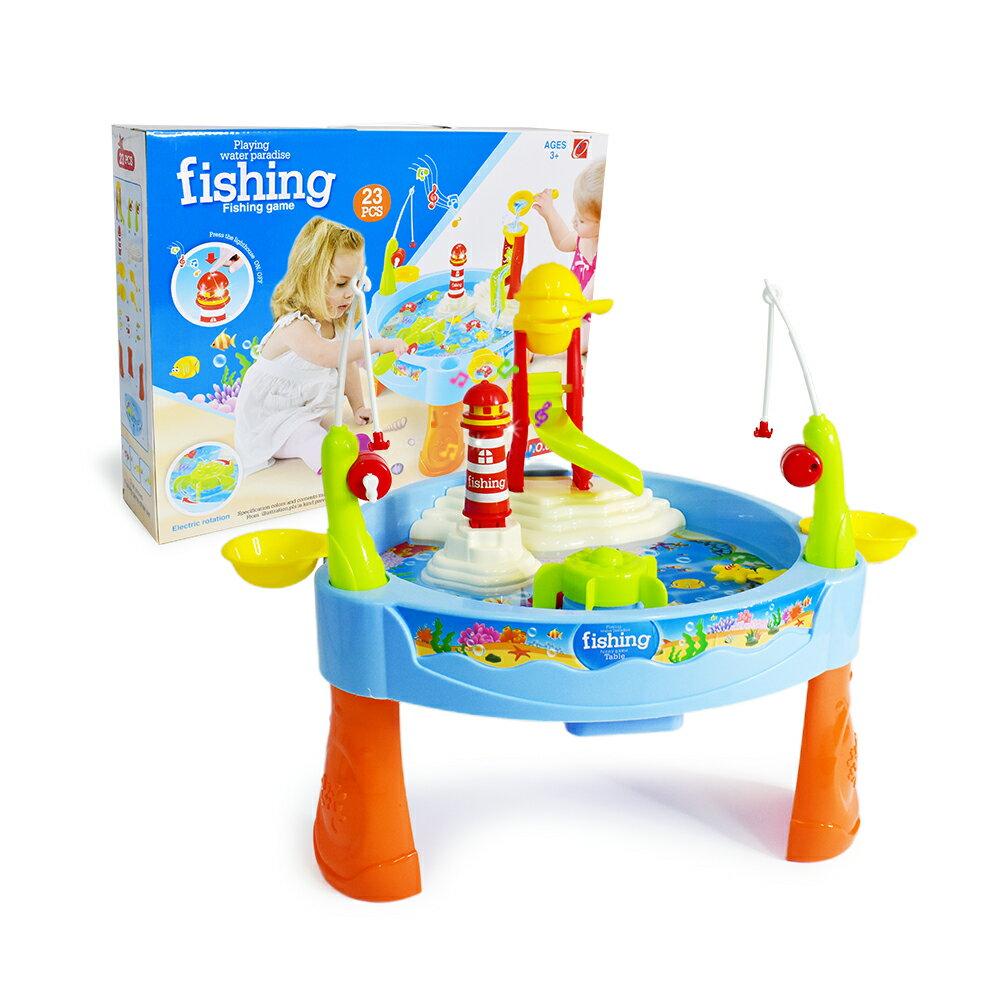 電動戲水釣魚 (聲光益智 電動旋轉 夏日戲水 親子互動 撈魚玩具 捕魚遊戲)