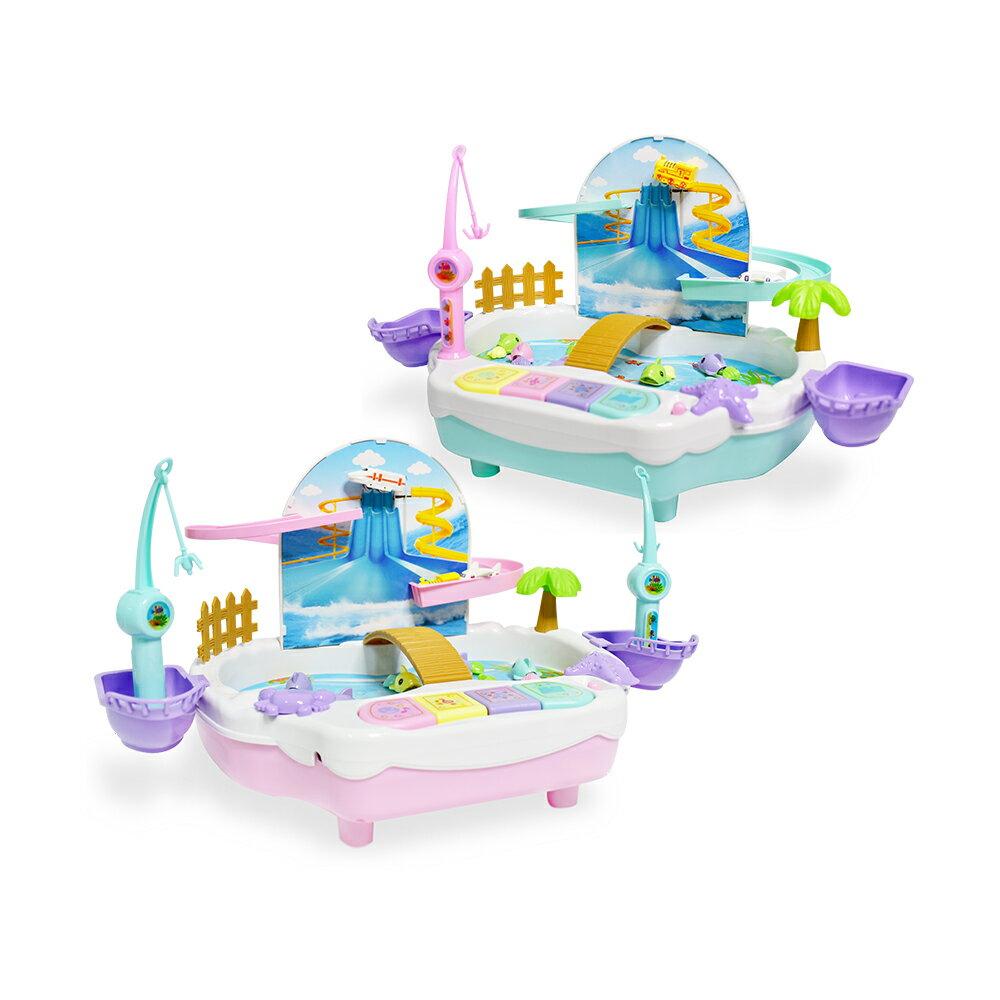 二合一釣魚滑水道(漂浮遊戲 聲光音樂 磁性升降 早教益智 電動玩具)