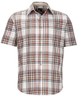 【Marmot土撥鼠美國】Dobson短袖襯衫防曬戶外襯衫格子襯衫橘色男款/52020