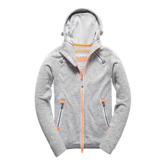 美國百分百【全新真品】Superdry 極度乾燥 連帽 外套 防風 夾克 針織 刷毛 淺砂礫灰 S號 H815
