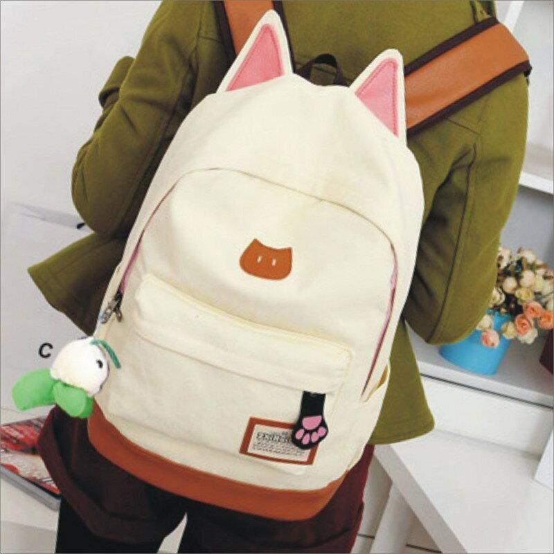 甜心小舖?立體貓耳朵後背包?韓版背包 書包 旅行包 休閒包 包包