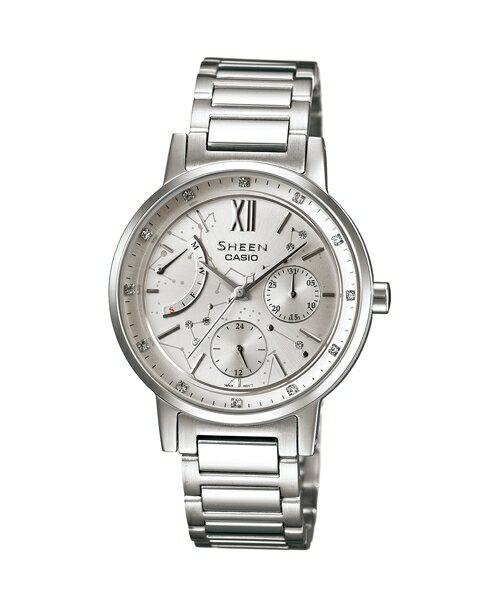 CASIO SHEEN SHE-3028D-7A璀燦星盤時尚腕錶/白色33mm