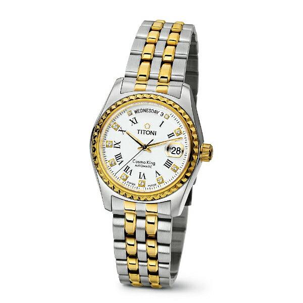 TITONI瑞士梅花錶787SY-019宇宙Cosmo King系列雙色機械腕錶/白面38.5mm
