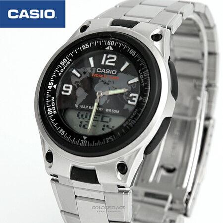 CASIO卡西歐 世界地圖黑面鐵錶 柒彩年代【NEC23】