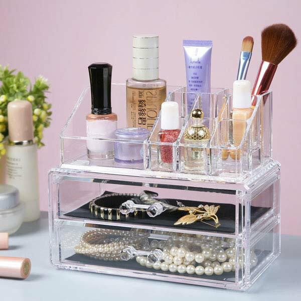 飾品收納 化妝品收納 壓克力盒 收納盒 飾品架 飾品盒 化妝品盒 抽屜櫃 《YoStyle》唯美二抽化妝收納盒