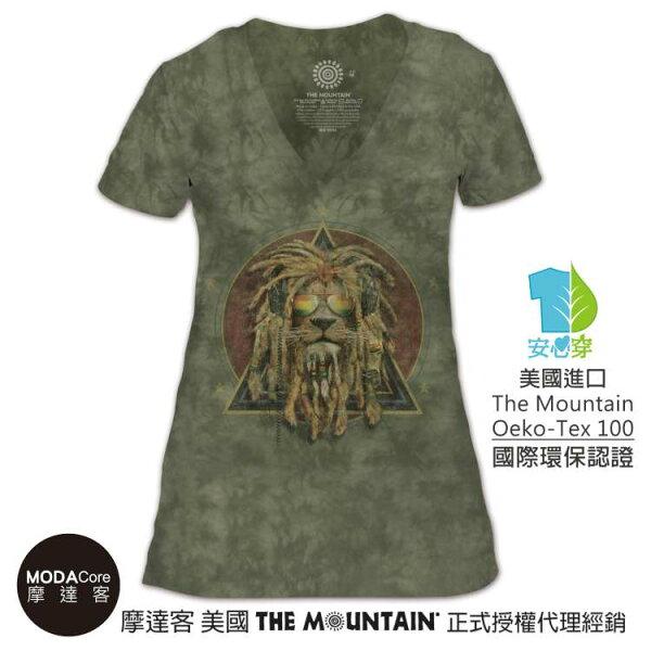 【摩達客】(預購)美國TheMountain都會系列復刻加滿獅V領女版短T